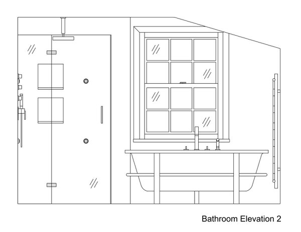 Toilet Elevation Plan : Bathtub section drawing